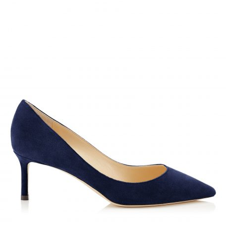 ROMY 60 Navy Suede Pointy Toe Pumps